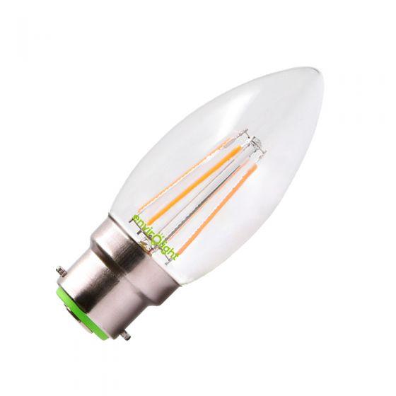 Envirolight 4W Warm White Dimmable LED Decorative Filament Candle Bulb - Bayonet Cap